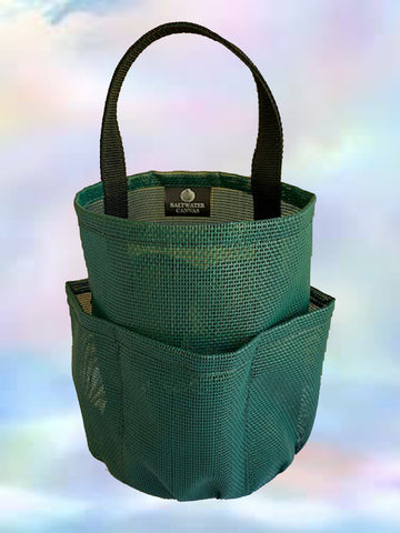 Mesh Shower Bag * Pine Green w Black Straps