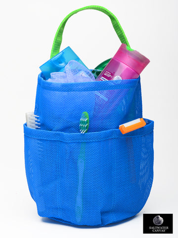 Mesh Shower Bag * Bright Blue * Apple Green Straps