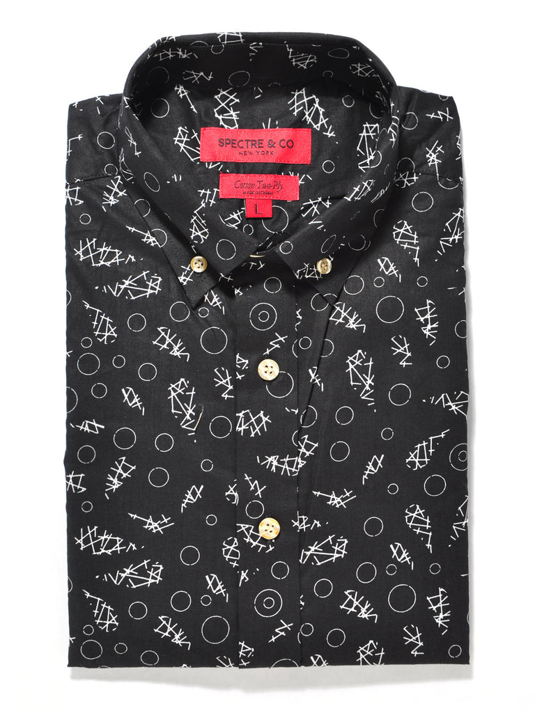 Black Abstract Print Short Sleeve Shirt