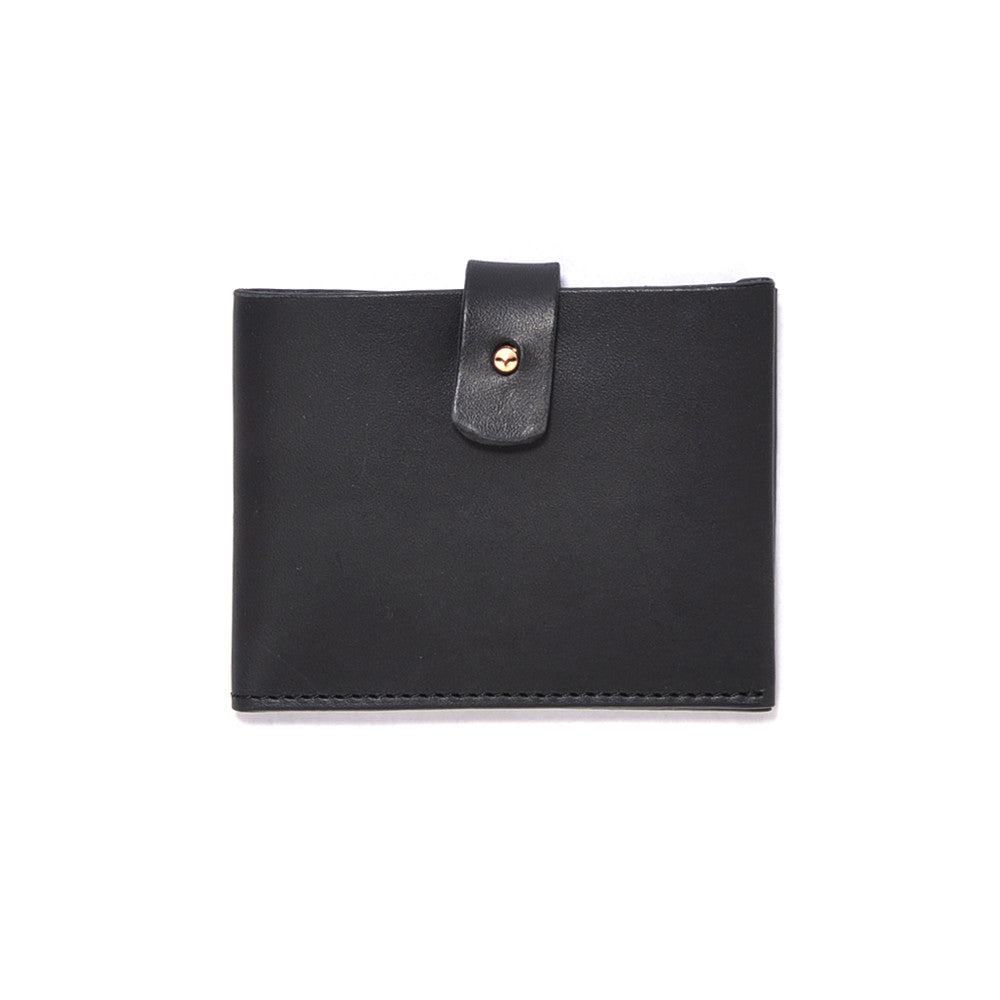 Black Italian Leather Clasp Wallet