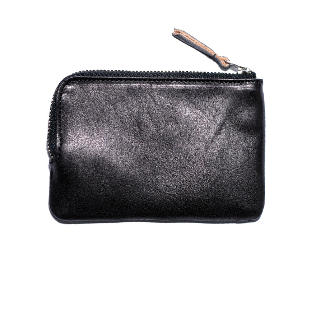Black Italian Leather Zip Wallet