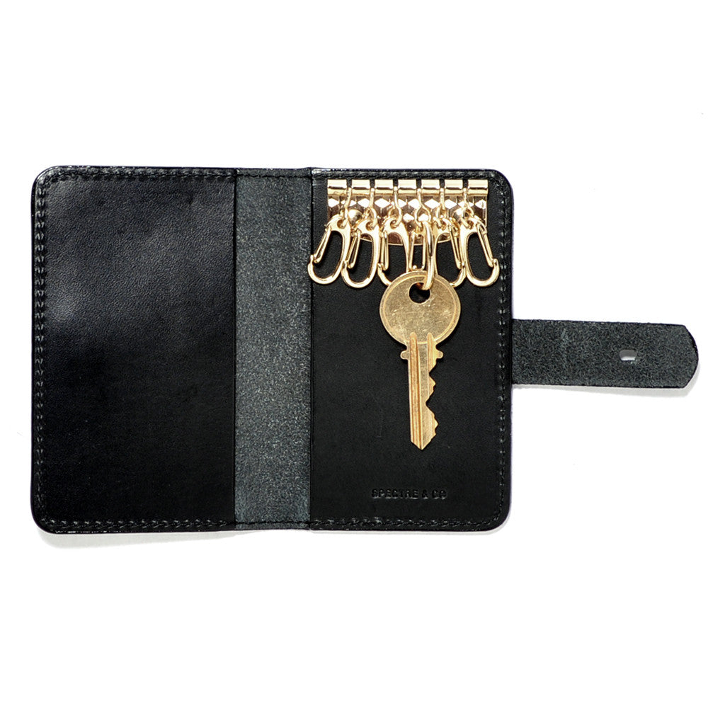 Black Italian Leather Key Wallet