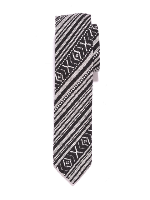 Black and White Aztec Print Cotton Tie