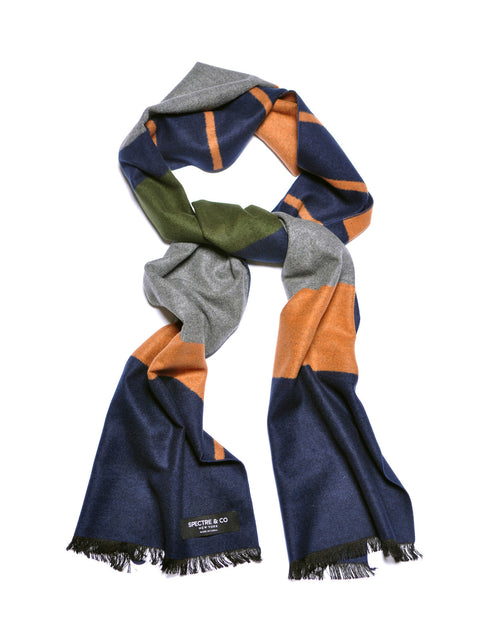 Color Block Brushed Silk Scarf: Olive/Brown/Navy