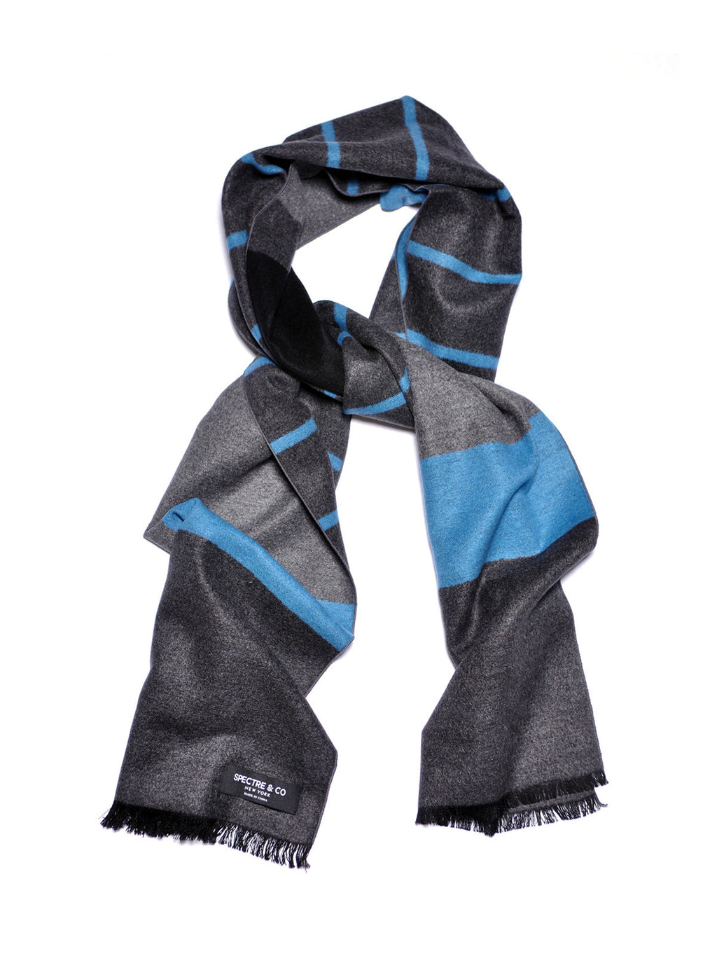 Color Block Brushed Silk Scarf: Blue/Black/Grey