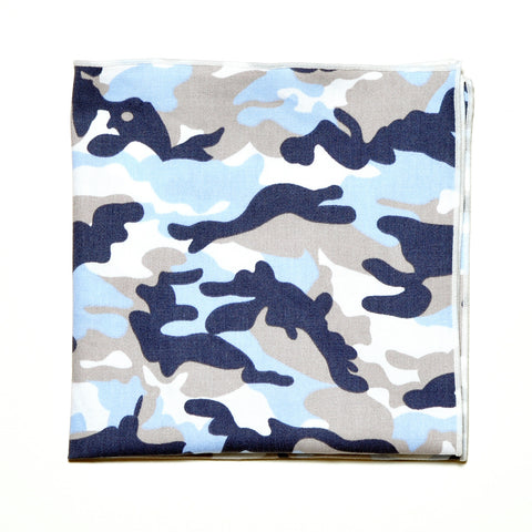 Blue Camo Print Cotton Pocket Square