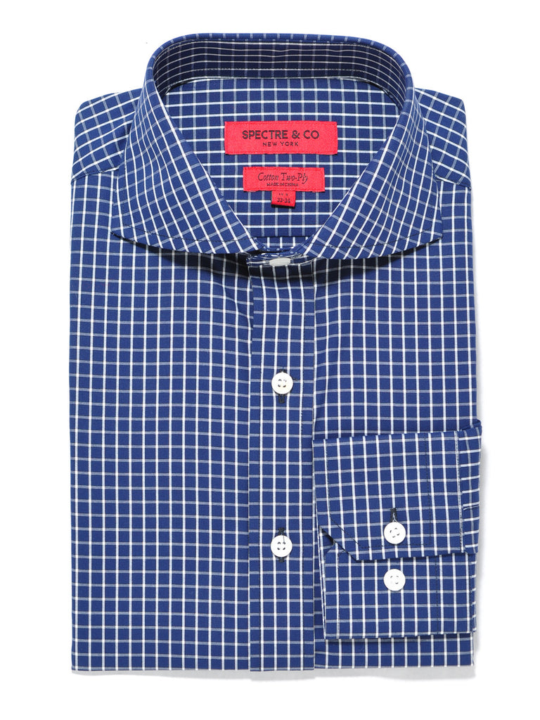 Slim Fit Blue Check Cutaway Dress Shirt
