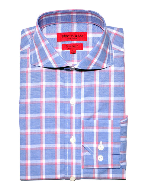 Slim Fit Blue Check Plaid Cutaway Dress Shirt