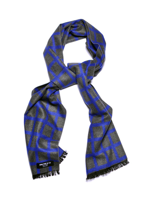 Blue Check Brushed Silk Scarf