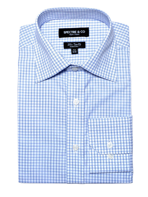 Slim Fit Blue Graph Check Dress Shirt