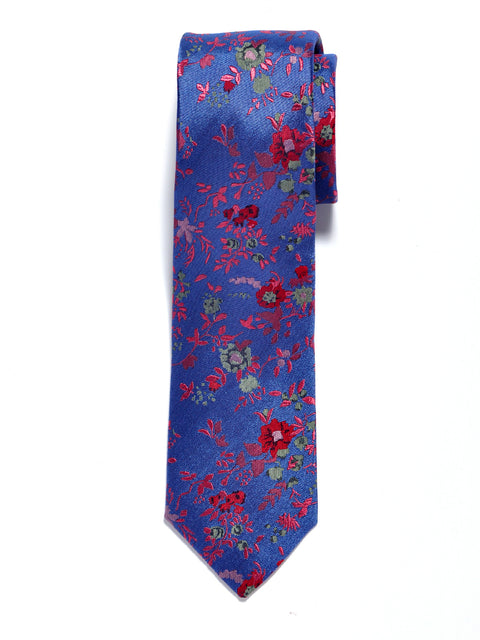 Blue Large Floral Silk Tie