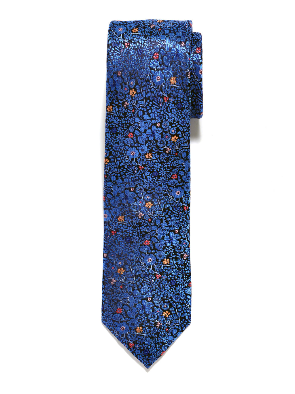 Blue and Orange Floral Silk Tie