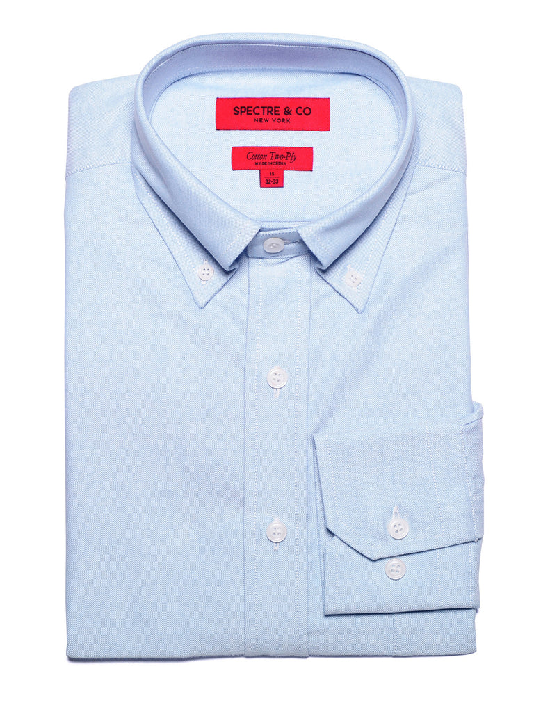Washed Blue Oxford Button-Down Dress Shirt