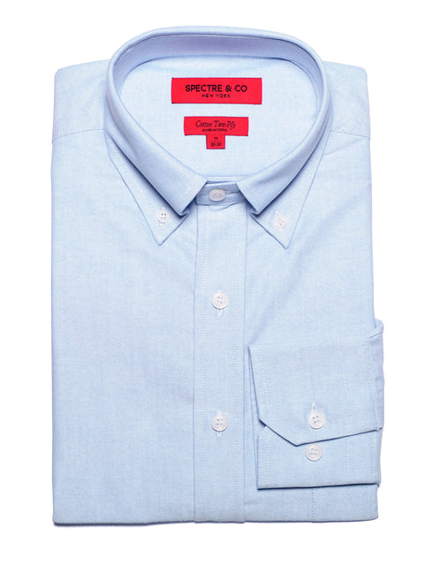 Slim Fit Washed Blue Oxford Button-Down Dress Shirt