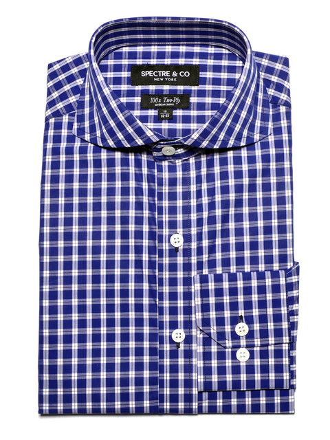 Slim Fit Blue Plaid Dress Shirt