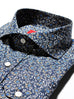 Slim Fit Blue Rose Floral Cutaway Spread Collar Dress Shirt