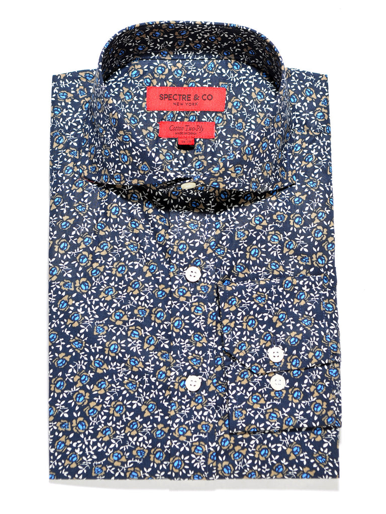 Blue Rose Floral Cutaway Dress Shirt