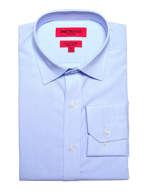 Slim Fit Blue Semi-Spread Dress Shirt