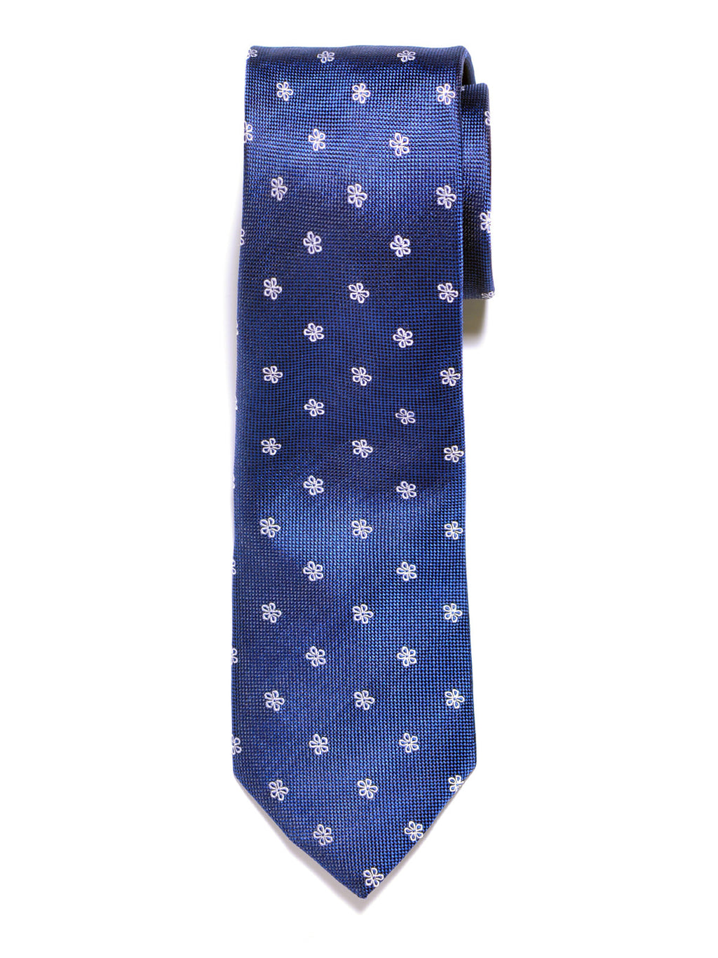 Blue Simple Flowers Silk Tie