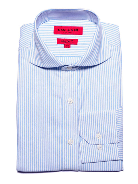Slim Fit Washed Blue Oxford Stripe Cutaway Dress Shirt