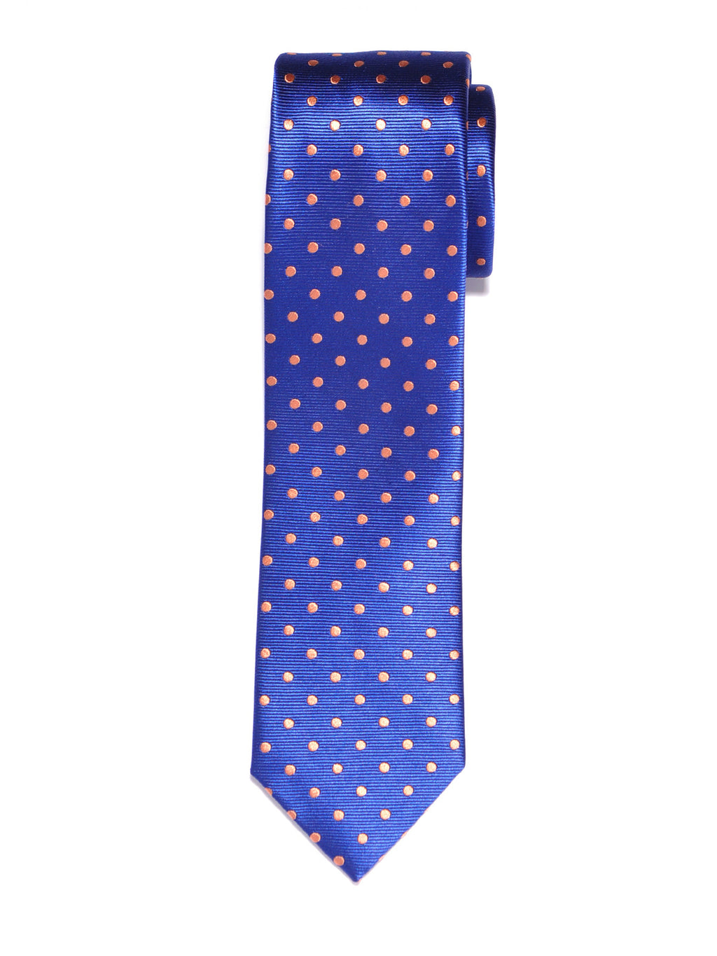 Slim Handmade Blue and Orange Dot Silk Tie