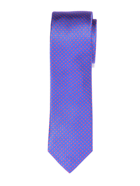 Slim Handmade Blue and Pink Dot Silk Tie