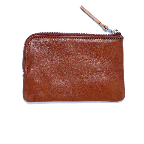 Brown Italian Leather Zip Wallet