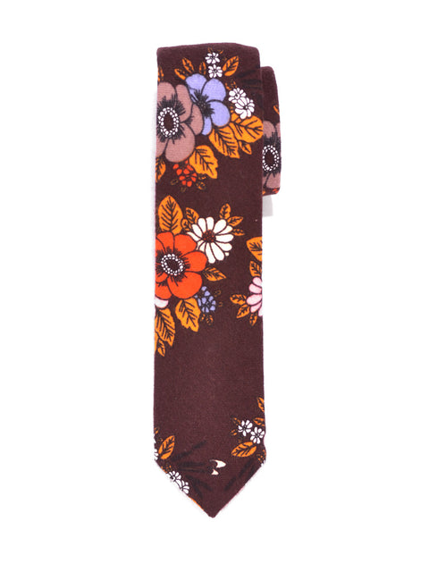 Brown Large Floral Tie