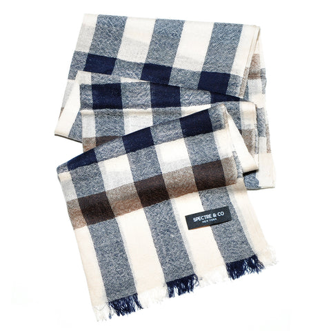 Navy and Brown Lambswool Scarf