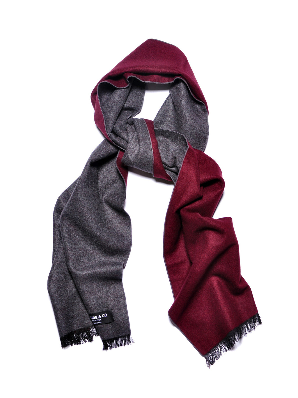 Burgundy and Grey Brushed Silk Scarf