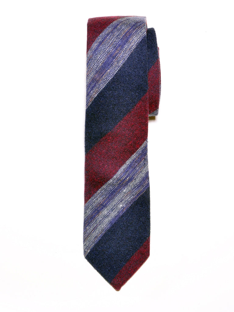 Navy and Red Block Stripe Wool Tie
