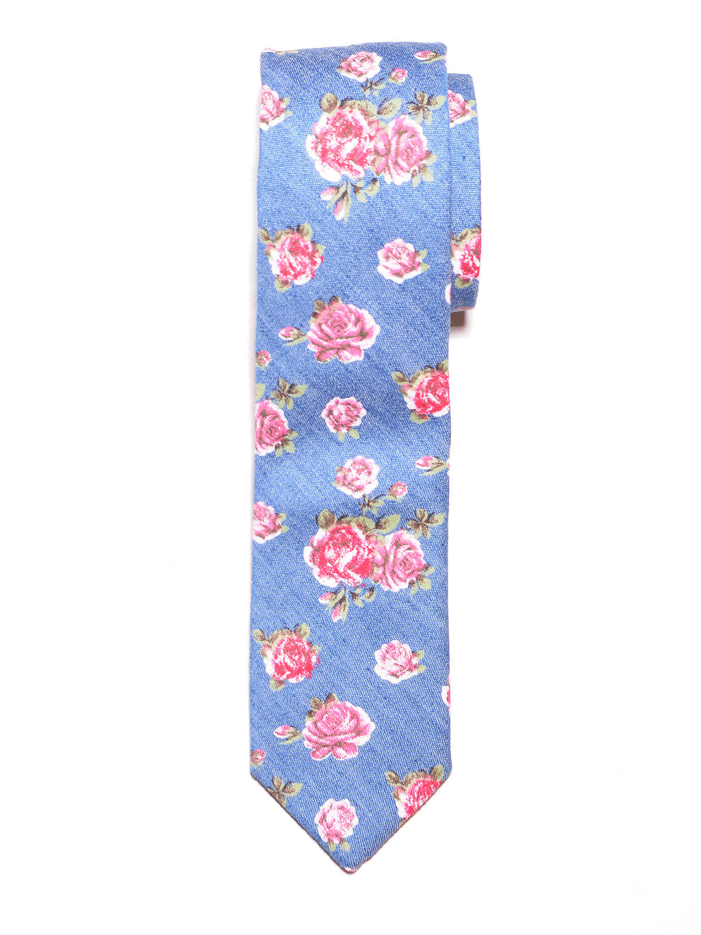 Chambray Floral Print Cotton Tie