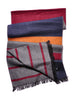 Color Block Brushed Silk Scarf: Burgundy/Brown/Navy Detail