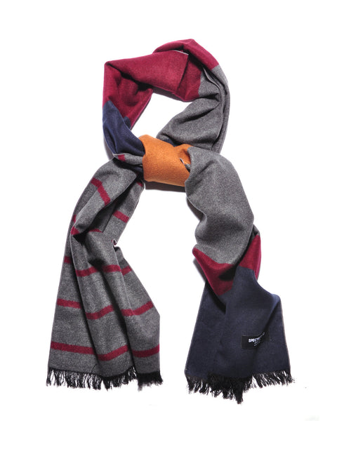 Color Block Brushed Silk Scarf Burgundy Brown Navy