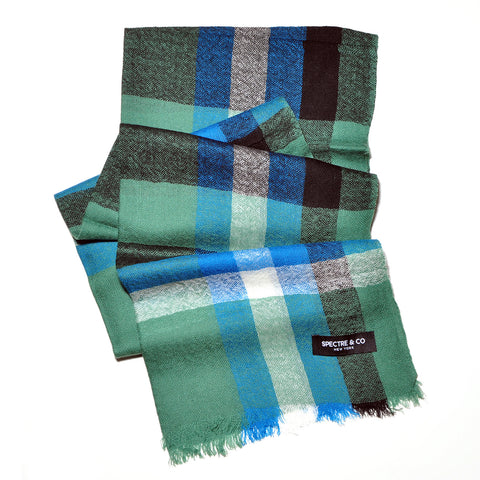 Green Check Lambswool Scarf