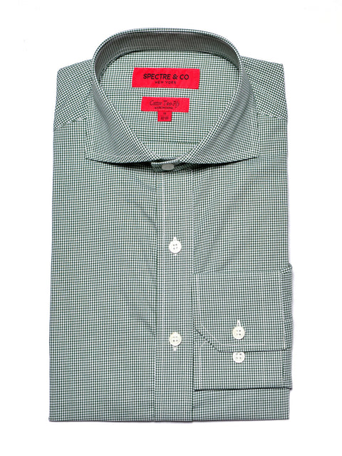 Green Micro-Gingham Dress Shirt
