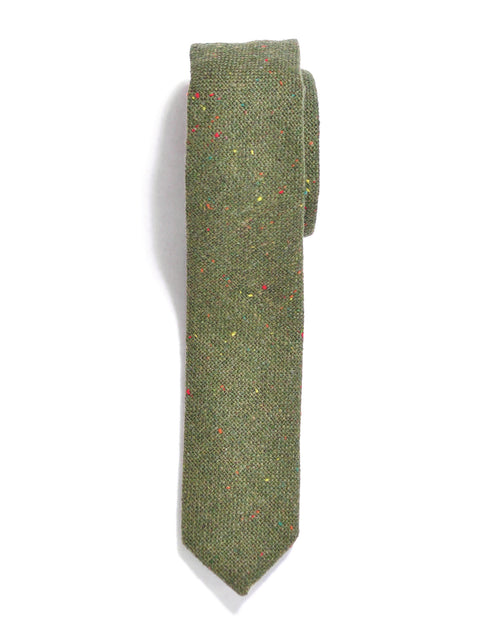 Green Rainbow Tweed Wool Tie