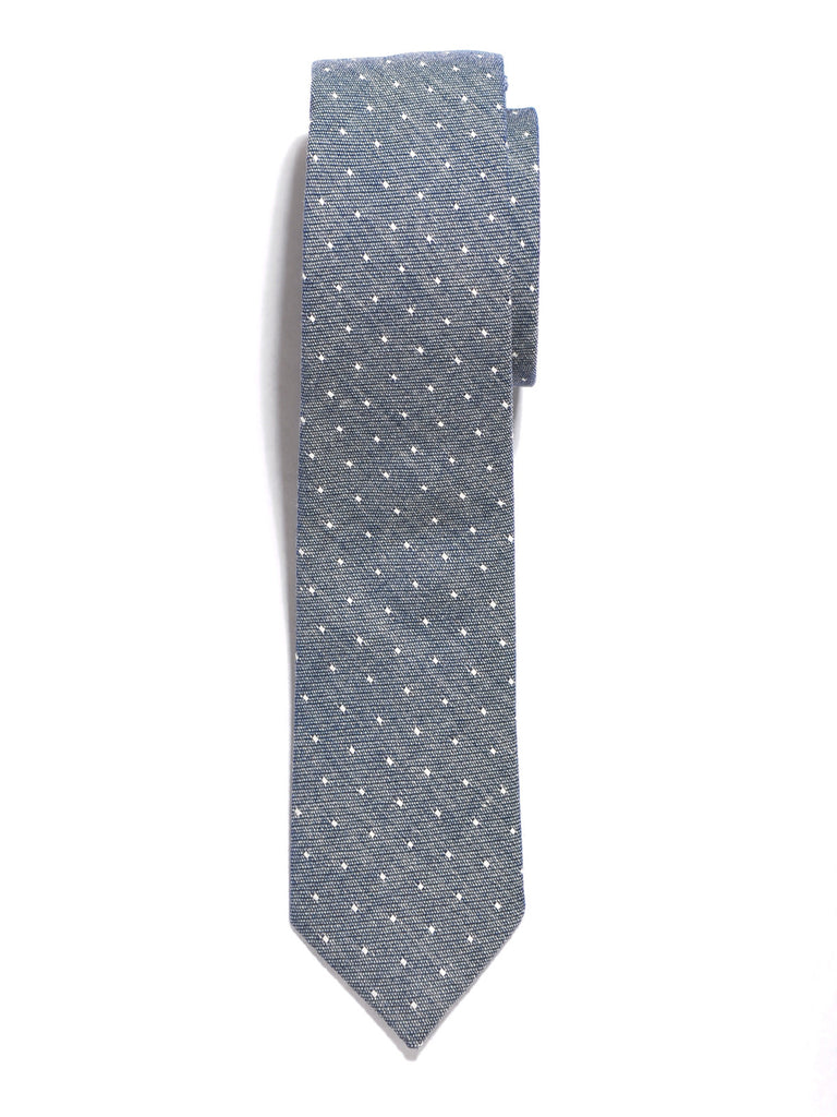 Grey Dot Cotton Tie