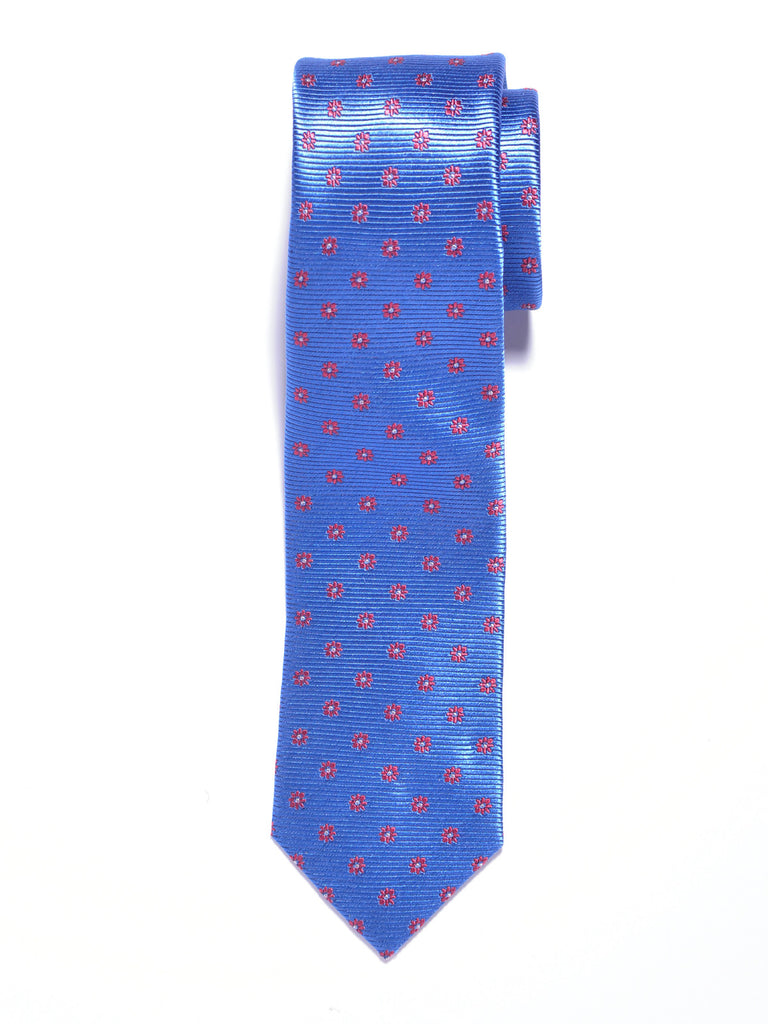 Light Blue and Red Flowers Silk Tie