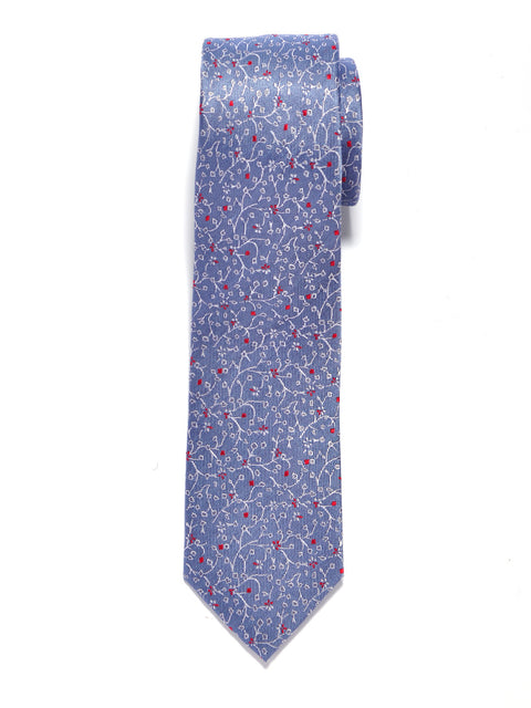 Light Blue Vineyard Floral Silk Tie