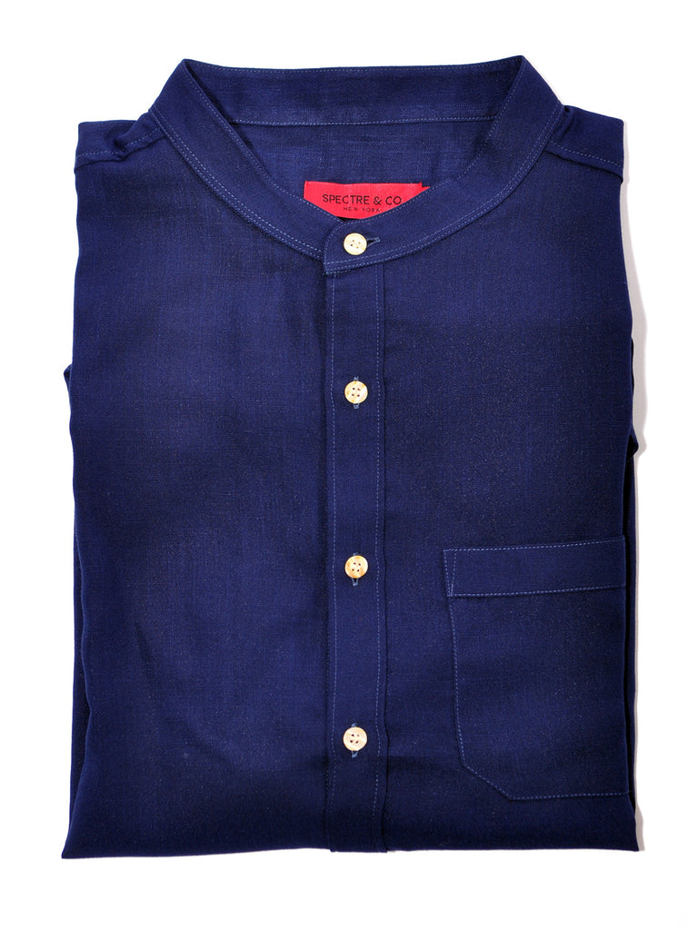 Navy Blue Cotton/Linen Band Collar Shirt