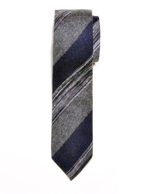 Navy and Grey Block Stripe Wool Tie