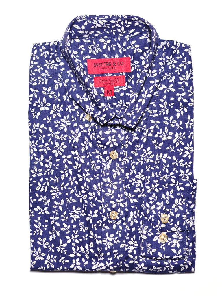 Navy Blue Leaves Floral Casual Shirt