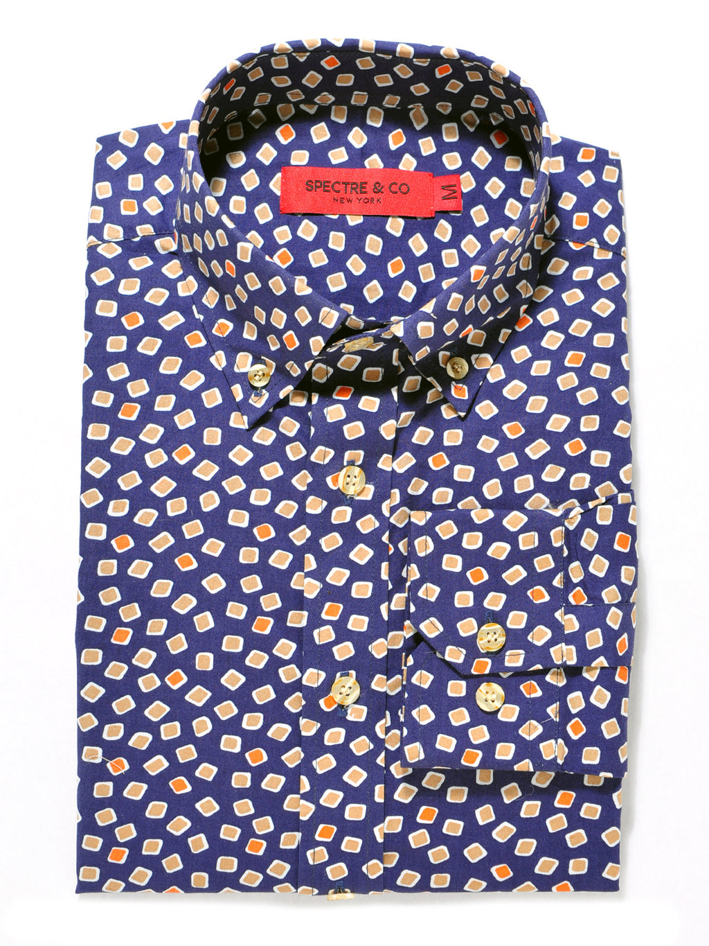 Navy Blue Squares Casual Shirt