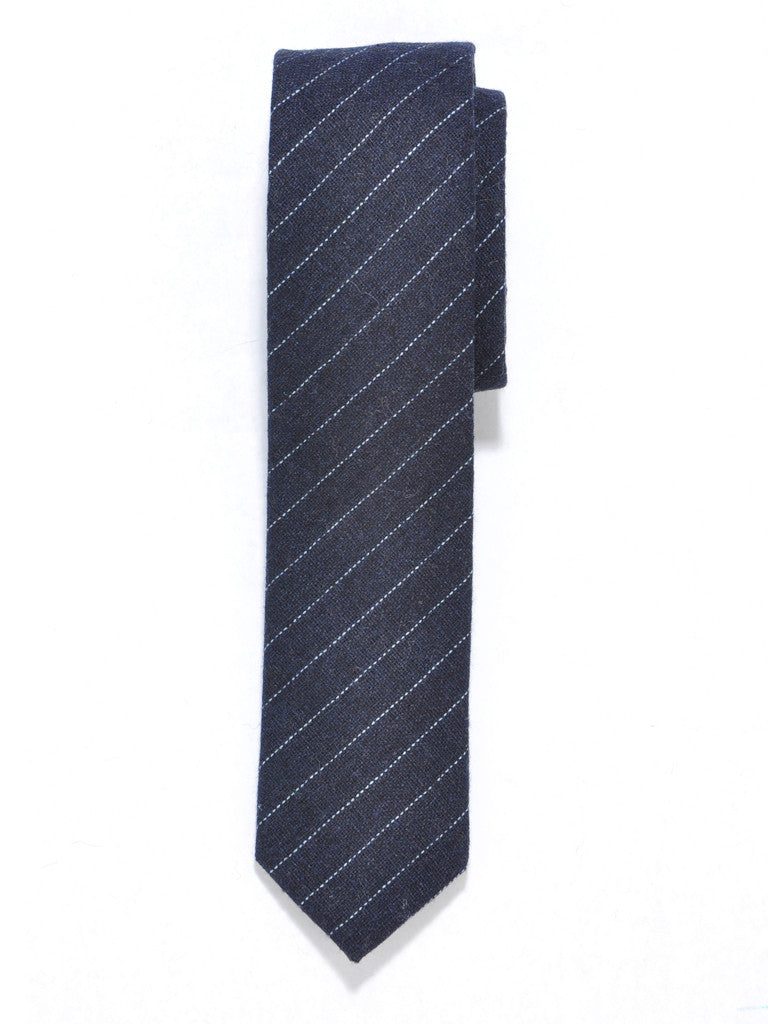 Navy Blue Stripe Wool Tie