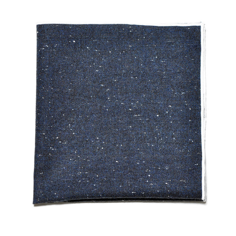 Navy Blue Speckled Wool Pocket Square