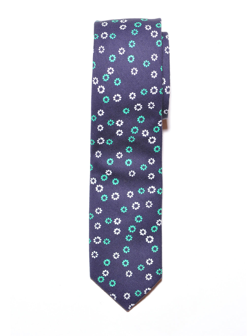 Navy Blue Floral Cotton Tie