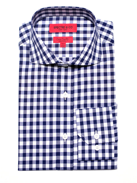 Slim Fit Navy Gingham Dress Shirt