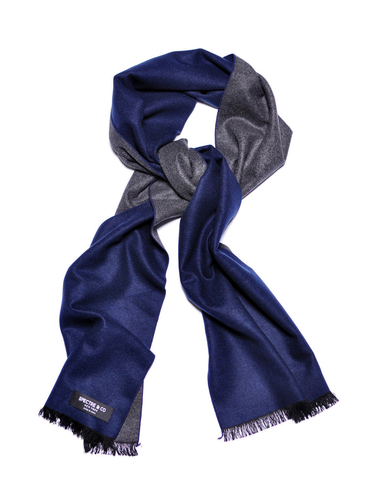 Navy Blue and Grey Brushed Silk Scarf