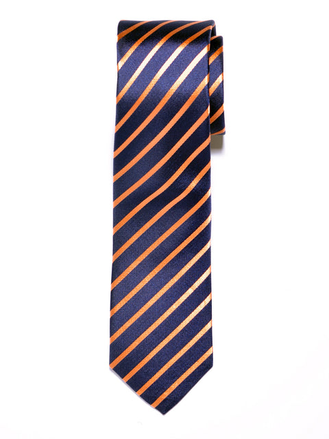 Navy Blue and Orange Banker Stripe Silk Tie